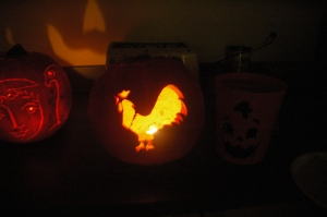 Rooster Carved Pumpkin